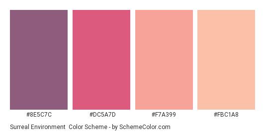 Surreal Environment - Color scheme palette thumbnail - #8E5C7C #DC5A7D #F7A399 #FBC1A8