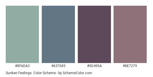 Sunken Feelings - Color scheme palette thumbnail - #8FADA3 #637683 #5D495A #8E7279