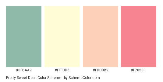 Pretty Sweet Deal - Color scheme palette thumbnail - #8FBAA9 #FFFDD6 #FDD0B9 #F7858F