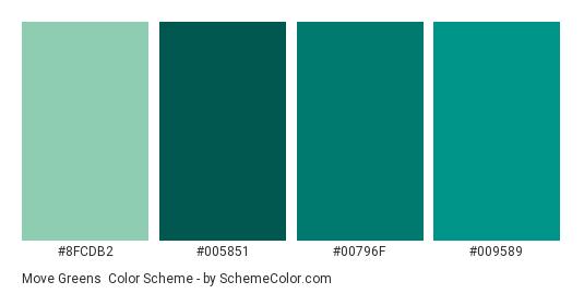 Move Greens - Color scheme palette thumbnail - #8FCDB2 #005851 #00796F #009589