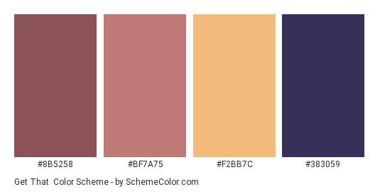 Get That - Color scheme palette thumbnail - #8b5258 #bf7a75 #f2bb7c #383059