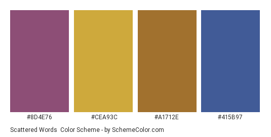Scattered Words - Color scheme palette thumbnail - #8d4e76 #cea93c #a1712e #415b97