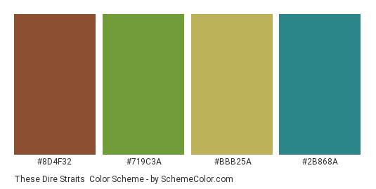 These Dire Straits - Color scheme palette thumbnail - #8d4f32 #719c3a #bbb25a #2b868a