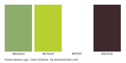 Home Sense Logo - Color scheme palette thumbnail - #8dad6c #b7d02f #ffffff #3f292d