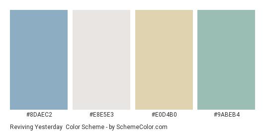 Reviving Yesterday - Color scheme palette thumbnail - #8daec2 #e8e5e3 #e0d4b0 #9abeb4