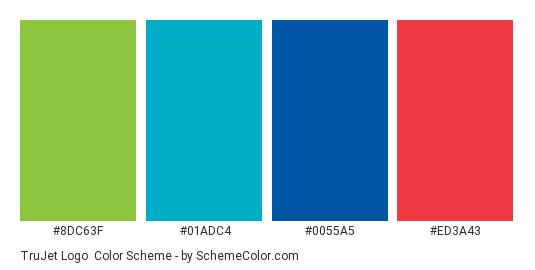 TruJet Logo - Color scheme palette thumbnail - #8dc63f #01adc4 #0055a5 #ed3a43