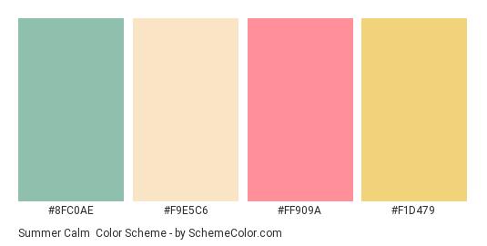 Summer Calm - Color scheme palette thumbnail - #8fc0ae #f9e5c6 #ff909a #f1d479