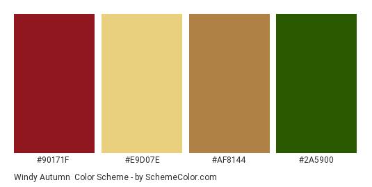 Windy Autumn - Color scheme palette thumbnail - #90171f #e9d07e #af8144 #2a5900