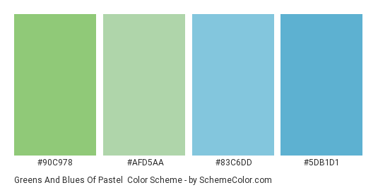 Greens and Blues of Pastel - Color scheme palette thumbnail - #90c978 #afd5aa #83c6dd #5db1d1