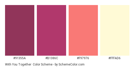 With You Together - Color scheme palette thumbnail - #91355a #b1386c #f97976 #fffad6