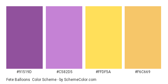 Fete Balloons - Color scheme palette thumbnail - #91519D #C582D5 #FFDF5A #F6C669