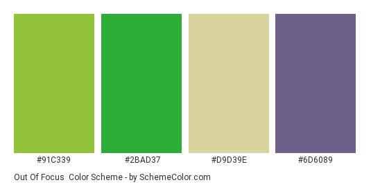 Out of Focus - Color scheme palette thumbnail - #91c339 #2bad37 #d9d39e #6d6089