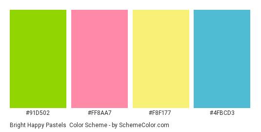 Bright Happy Pastels - Color scheme palette thumbnail - #91d502 #ff8aa7 #f8f177 #4fbcd3