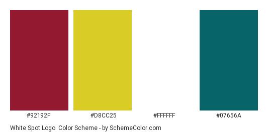 White Spot Logo - Color scheme palette thumbnail - #92192f #d8cc25 #ffffff #07656a