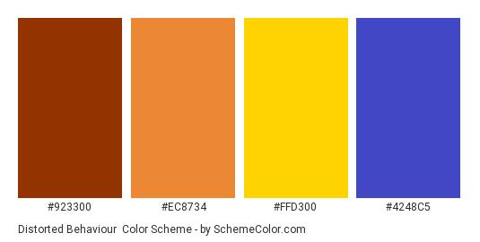 Distorted Behaviour - Color scheme palette thumbnail - #923300 #EC8734 #FFD300 #4248C5