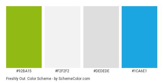 Freshly Out - Color scheme palette thumbnail - #92ba15 #f2f2f2 #dedede #1ca6e1
