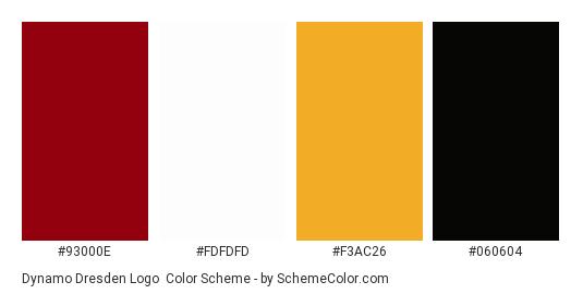 Dynamo Dresden Logo - Color scheme palette thumbnail - #93000e #fdfdfd #f3ac26 #060604