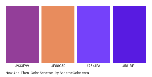 Now and Then - Color scheme palette thumbnail - #933e99 #e88c5d #7541fa #581be1