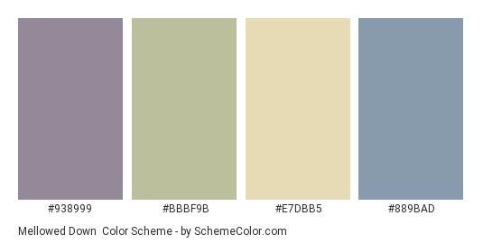Mellowed Down - Color scheme palette thumbnail - #938999 #BBBF9B #e7dbb5 #889bad