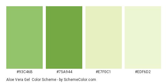 Aloe Vera Gel - Color scheme palette thumbnail - #93C46B #75A944 #E7F0C1 #EDF6D2