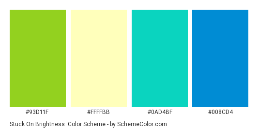 Stuck On Brightness - Color scheme palette thumbnail - #93d11f #ffffbb #0ad4bf #008cd4