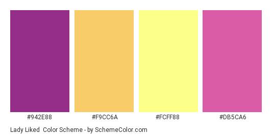 Lady Liked - Color scheme palette thumbnail - #942E88 #F9CC6A #FCFF88 #DB5CA6