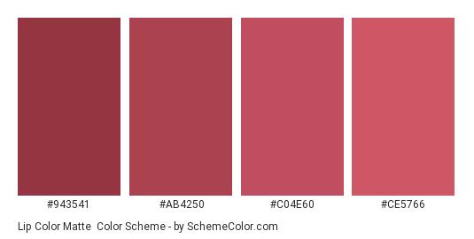 Lip Color Matte - Color scheme palette thumbnail - #943541 #ab4250 #c04e60 #ce5766