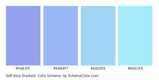 Soft Blue Gradient - Color scheme palette thumbnail - #94a1ef #9ab8f7 #a0d5f6 #a6ecfa