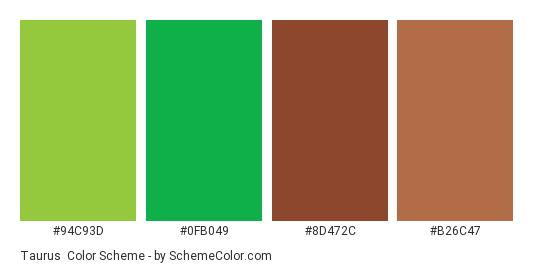 Taurus - Color scheme palette thumbnail - #94c93d #0fb049 #8d472c #b26c47