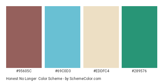 Honest No Longer - Color scheme palette thumbnail - #95605C #69C0D3 #EDDFC4 #289576