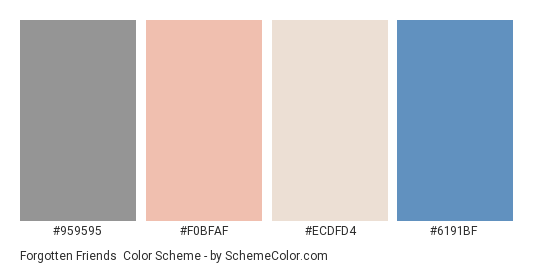 Forgotten Friends - Color scheme palette thumbnail - #959595 #f0bfaf #ecdfd4 #6191bf