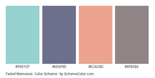 Faded Memories - Color scheme palette thumbnail - #95d1cf #6e6f8d #eca28d #8f8586