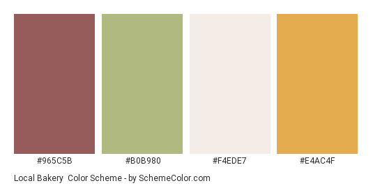 Local Bakery - Color scheme palette thumbnail - #965C5B #B0B980 #F4EDE7 #E4AC4F