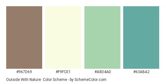 Outside With Nature - Color scheme palette thumbnail - #967d69 #f9fce1 #a8d4ad #63aba2