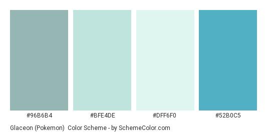 Glaceon (Pokemon) - Color scheme palette thumbnail - #96B6B4 #BFE4DE #DFF6F0 #52B0C5