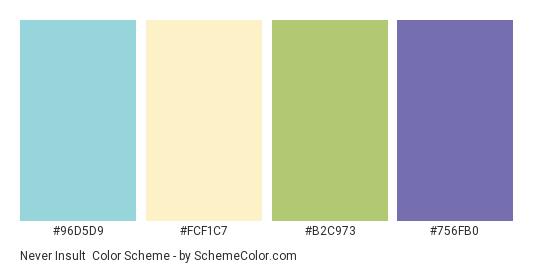 Never Insult - Color scheme palette thumbnail - #96D5D9 #FCF1C7 #B2C973 #756FB0
