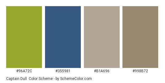 Captain Dull - Color scheme palette thumbnail - #96a72c #355981 #b1a696 #998b72