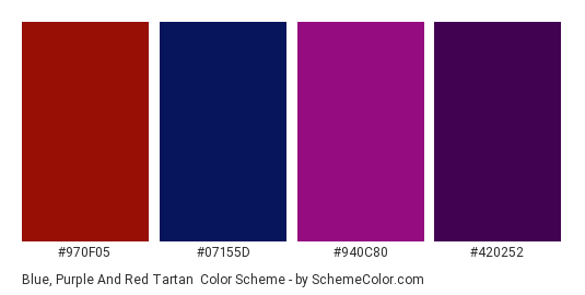 Blue, Purple and Red Tartan - Color scheme palette thumbnail - #970f05 #07155d #940c80 #420252