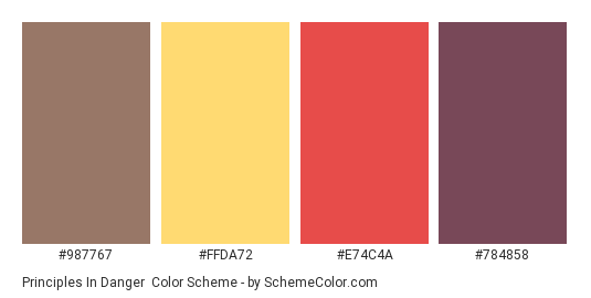 Principles in Danger - Color scheme palette thumbnail - #987767 #FFDA72 #E74C4A #784858