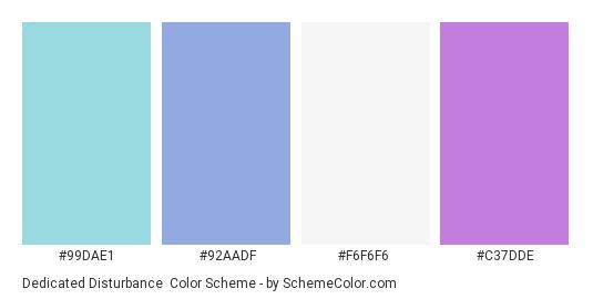Dedicated Disturbance - Color scheme palette thumbnail - #99DAE1 #92AADF #F6F6F6 #C37DDE