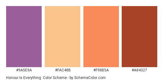 Honour is Everything - Color scheme palette thumbnail - #9A5E9A #FAC48B #F98B5A #A84327