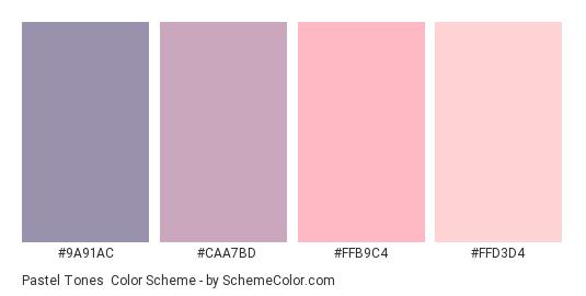 Pastel Tones - Color scheme palette thumbnail - #9A91AC #CAA7BD #FFB9C4 #FFD3D4