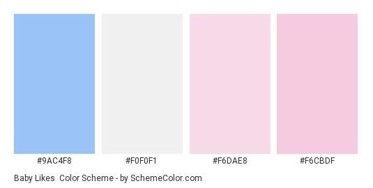 Baby Likes - Color scheme palette thumbnail - #9AC4F8 #F0F0F1 #F6DAE8 #F6CBDF
