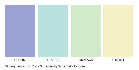 Sliding Sensation - Color scheme palette thumbnail - #9BA1D1 #BAE2DD #D2EACB #F6F1C4