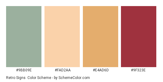 Retro Signs - Color scheme palette thumbnail - #9BB09E #FAD2AA #E4AD6D #9F323E