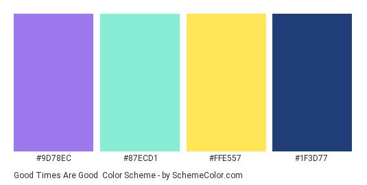 Good Times are Good - Color scheme palette thumbnail - #9D78EC #87ECD1 #FFE557 #1F3D77