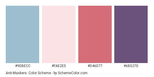 Anti-Maskers - Color scheme palette thumbnail - #9DBECC #FAE2E5 #D46D77 #6B527D