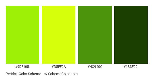Peridot - Color scheme palette thumbnail - #9DF105 #D5FF0A #4C940C #1B3F00