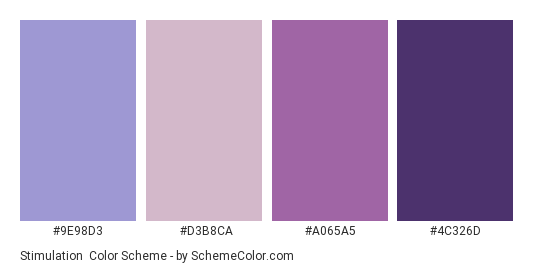 Stimulation - Color scheme palette thumbnail - #9E98D3 #D3B8CA #A065A5 #4C326D