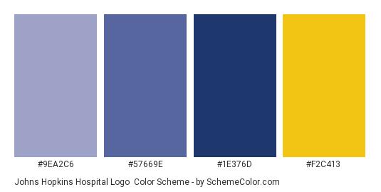 Johns Hopkins Hospital Logo - Color scheme palette thumbnail - #9EA2C6 #57669E #1E376D #F2C413
